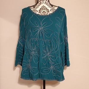 Once 1 Again Plus Size Women's Teal Top 2X